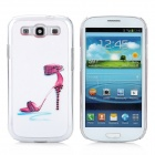Rhinestone High Heels Pattern Protective Plastic Case for Samsung Galaxy S3 i9300 - White + Red