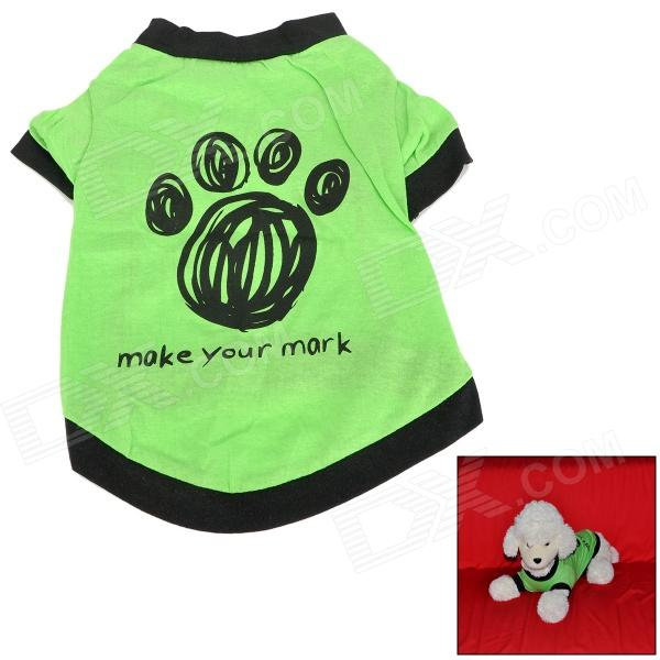 Foot Print Pet Dog T-shirt - Green + Black (Size-M)