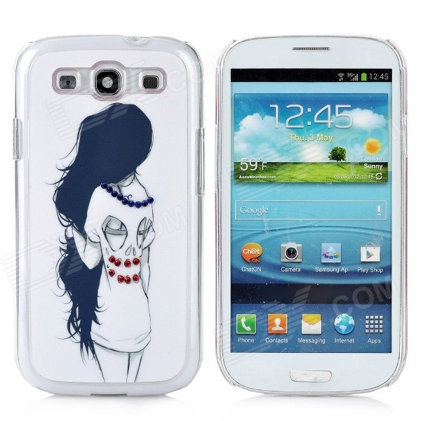 Rhinestone Long Hair Girl Style Protective Plastic Case for Samsung Galaxy S3 i9300 - White + Black