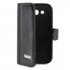Protective Leather PU + Plastic Case para Samsung Galaxy i9082 Grande Duos - Black