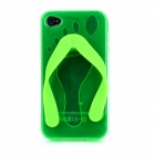 Cute Slipper Flip Flops Style Protective Plastic Back Case for Iphone 4 / 4S - Green