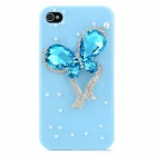 Elegant Rhinestone Butterfly Style Protective Plastic Back Case for Iphone 4 / 4S - Blue