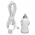 Widepath W22 Car Charger + Lightning 8-Pin Male to USB 2.0 Male Charging Cable for iPhone 5 - White