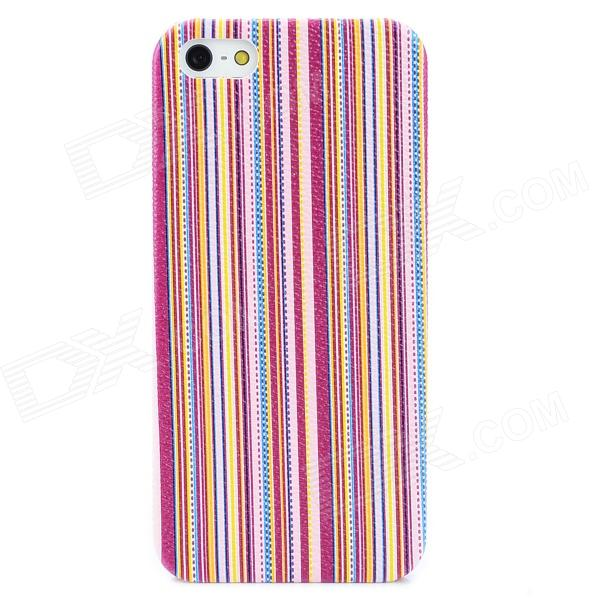 Vertical Stripe Style Protective Plastic Back Case for Iphone 5 - Purple + Yellow + Pink ipega i5056 waterproof protective case for iphone 5 5s 5c pink