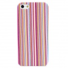 Vertical Stripe Style Protective Plastic Back Case for Iphone 5 - Purple + Yellow + Pink