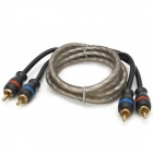 CR-1P-1 Car Audio 2-RCA Male to Male Connection Cable - Black (100cm)