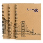 XN 901 Retro Romantic City Pattern Coil Binding Paper Notebook - Sand Yellow (77-Page / 3 PCS)