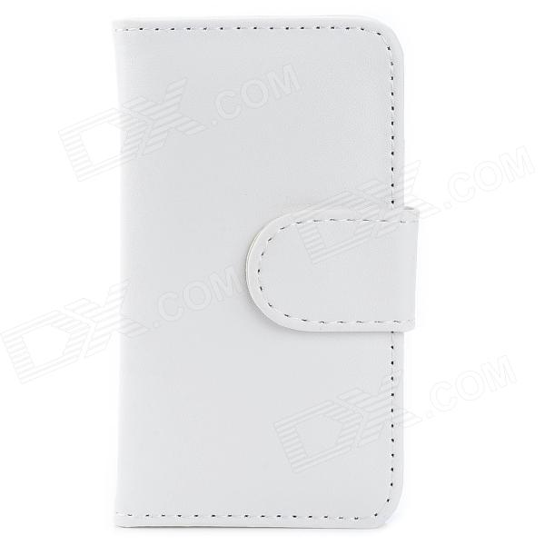 Stylish Protective PU Leather Case w/ Card Holder for Iphone 4 - White stylish protective pu leather case w card holder slot for iphone 4 white black
