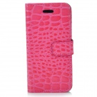 Protective Crocodile Skin Style PU Leather Case for Iphone 5 - Deep Pink