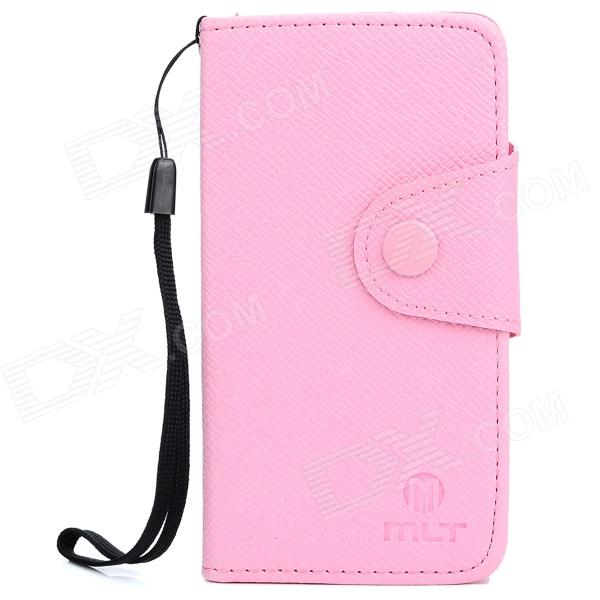 Stylish Protective PU Leather Case w/ Strap for Ipod Touch 5 - Pink pu leather folio shell with hand strap for ipod touch 6 touch 5 nothing