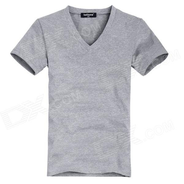 V Collar Man's Cotton Tights Short Sleeve T-shirt - Grey (Size XXL)