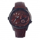 SPEATAK SP9019G Leather Band Quartz Analog Six-Hand Stopwatch Men's Wrist Watch - Reddish Brown
