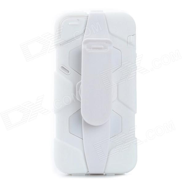 Stylish Protective Rainproof Case w/ Clip For iphone 5 - White protective plastic bumper frame case for iphone 6 plus white