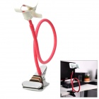 Universal Clip-on Flexible Neck Holder Stand w/ Suction Cup Holder for Iphone / Samsung - Light Red