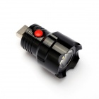 USB Powered 1W 190lm 6500K 3-Mode OSRAM LED White Flashlight Holder - Black
