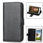 Stylish Flip-Open Leather Stand Case w/ Screen Guard + Stylus Pen for Samsung Galaxy S4 - Black