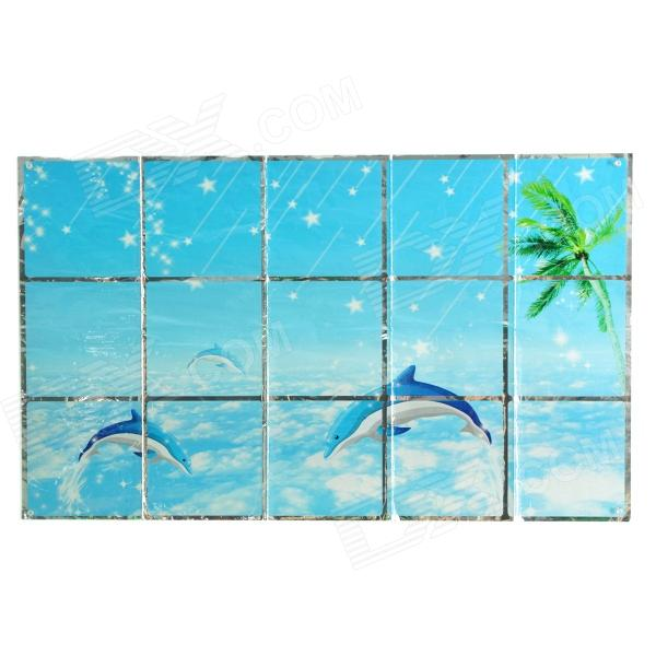 Dolphin Ocean Pattern Oil-proof Kitchen Cooking Bench / Wall Sticker - Blue + White