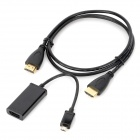 MHL to HDMI Adapter Cable + HDMI Male to Male Cable Set for Samsung i9300 / i939 / N7100 - Black