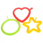 Silicone Heart / Star / Round Shape Mold Ring for Frying Eggs - Green + Red + Yellow (3 PCS)