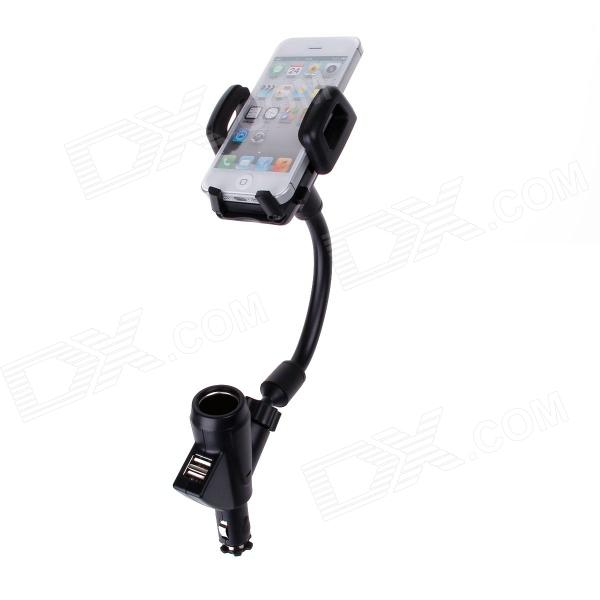Multi-functional Car Holder w/ USB Car Charger for MP3 / MP4 / Cell Phone / GPS / PDA - Black