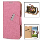 MAGE Protective PU Leather Case w/ Card Holder for Samsung Galaxy S4 i9500 - Pink