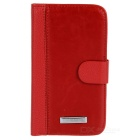 Protective PU Leather + Plastic Case for Samsung Galaxy Grand Duos i9082 - Dark Red