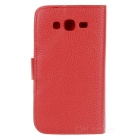 Protective Leather PU + Plastic Case para Samsung Galaxy i9082 Grande Duos - Red