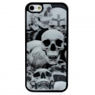 Dynamic 3D Skull Head Protective Back Case for Iphone 5 - Grey + Black