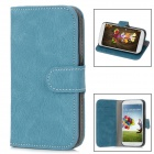 Bark Grain Style Protective PU Leather + Plastic Case for Samsung Galaxy S4 i9500 - Blue