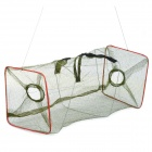 E4KM Foldable 3-Layer Fish Shrimp  Lobster Trapping Basket Net - Deep Green + Red