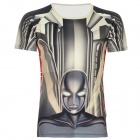 XINGLONG Cool Robot Pattern T Shirt for Men - Yellow + Black (Size XL)