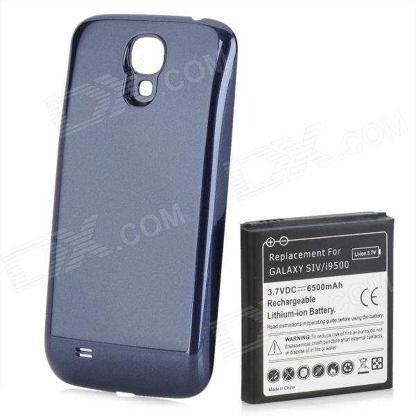 Replacement 6500mAh Dual Core Extended Battery w/ Back Cover for Samsung Galaxy S4 i9500 - Dark Blue replacement dual core 1600mah li ion battery for samsung galaxy ace s5830 2 pcs