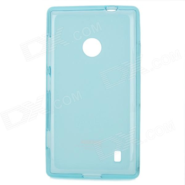 Remax Stylish TPU Back Case w/ Screen Guard + Anti-Dust Plug for Nokia Lumia 520 - Light Blue