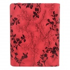Rose Pattern PU Leather Smart Case w/ Swivel Stand for Ipad 2 / 3 / 4 - Red