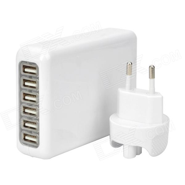 6-USB Port AC Power Charger Adapter w/ EU Plug for Iphone / Ipad / Ipod / Samsung Tablet PC - White 3 port usb ac uk plug power adapter for mobile phone tablet pc white 100 240v