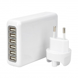 6-USB AC Power Charger Adapter w/ EU Plug for IPHONE + More - White