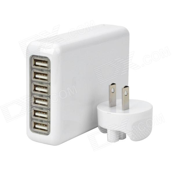 6-USB Port AC Power Charger Adapter w/ US Plug for Iphone / Ipad / Ipod / Samsung Tablet PC - White 3 port usb ac uk plug power adapter for mobile phone tablet pc white 100 240v
