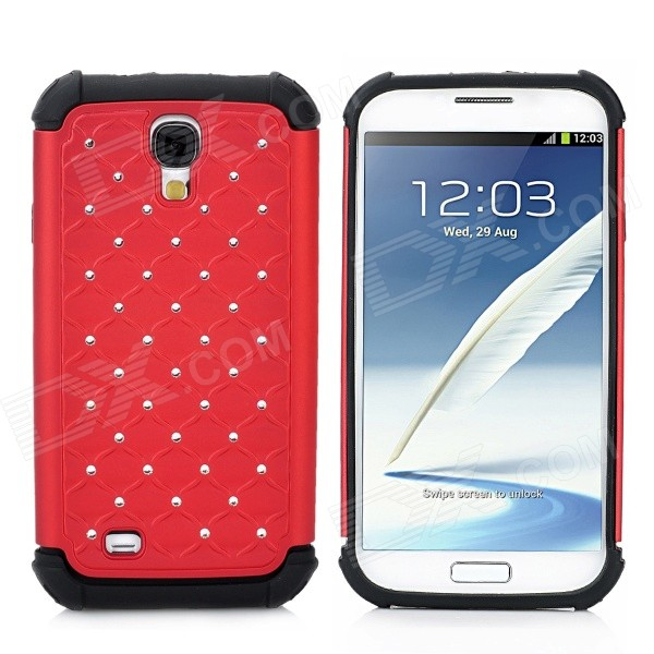 2-in-1 Protective Silicone + Plastic Case for Samsung Galaxy S4 i9500 - Red + Black cool basketball skin pattern silicone protective back case for samsung galaxy s4 i9500 black red