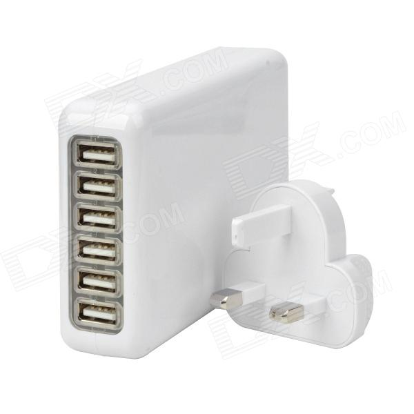 6-USB Port AC Power Charger Adapter w/ UK Plug for Iphone / Ipad / Ipod / Samsung Tablet PC - White 3 port usb ac uk plug power adapter for mobile phone tablet pc white 100 240v