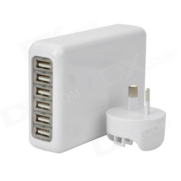 6-USB Port AC Power Charger Adapter w/ AU Plug for Iphone / Ipad / Ipod / Samsung Tablet PC - White 3 port usb ac uk plug power adapter for mobile phone tablet pc white 100 240v