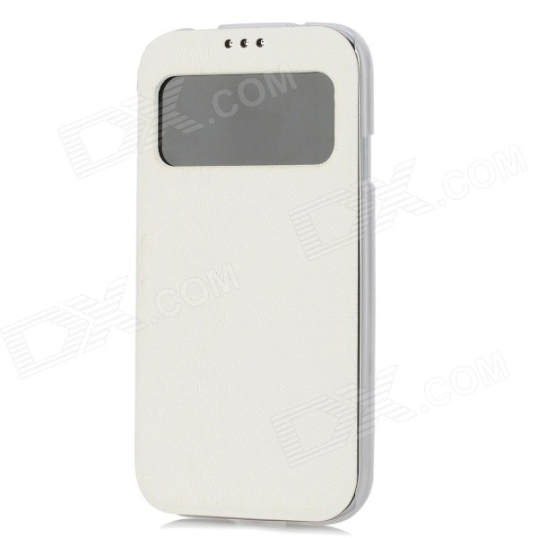 Ultrathin Protective PU Leather + Plastic Case for Samsung Galaxy S4 i9500 - White protective plastic case for samsung galaxy s4 i9500 white