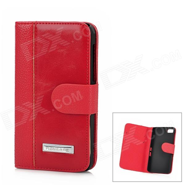 Protective PU Leather + Plastic Case for BlackBerry Z10 - Red + Black 1more super bass headphones black and red