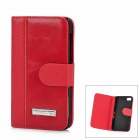 Protective PU Leather + Plastic Case for BlackBerry Z10 - Red + Black