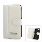 Protective PU Leather + Plastic Case for BlackBerry Z10 - White + Black