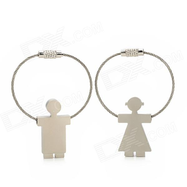 Rope Skipping Boy and Girl Style Keychain - Silver (2 PCS)