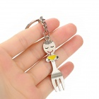 Mini Spoon and Fork Zinc Alloy Keychain - Silver (2 PCS)