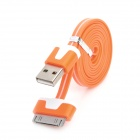 Flat 30-Pin Male to USB 2.0 Male Data Sync / Charging Cable for iPhone 4 / 4S / iPad 2 / 3 - Orange