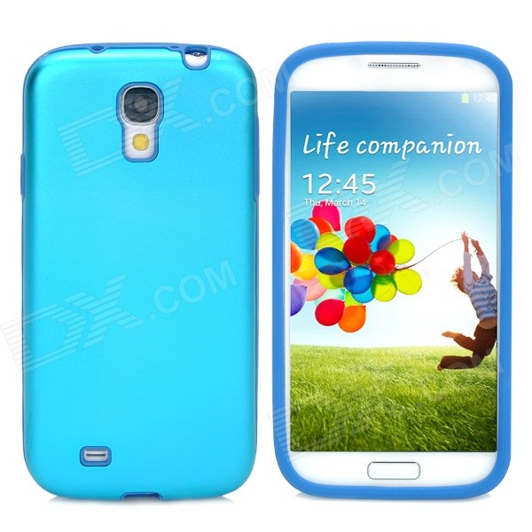 Protective Aluminum Alloy + Silicone Back Case for Samsung Galaxy S4/I9500 - Blue aluminum alloy 20x telephoto lens w tripod case for samsung i9500