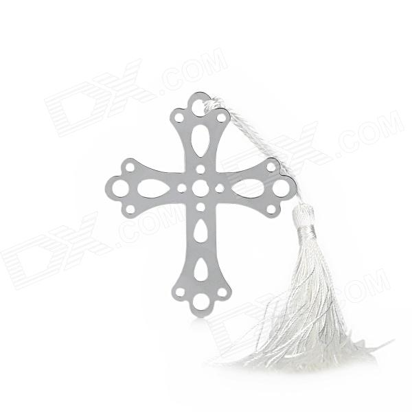 все цены на Creative Cross Style Stainless Steel Tassel Bookmark - Silver + White онлайн