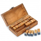 Retro Style Alphabet Number Pattern Wooden Stamp Set - Wood + Blue